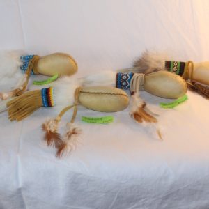 Antler Rawhide Beaded Rattle Rainbow