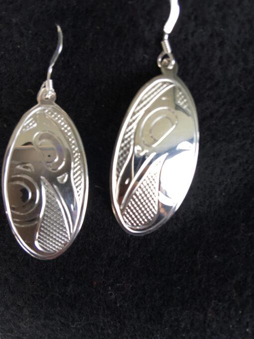 Oval Silver Earrings Raven